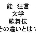 能、狂言、文楽、歌舞伎の違いをわかりやすく解説!